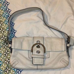 Small white leather coach bag